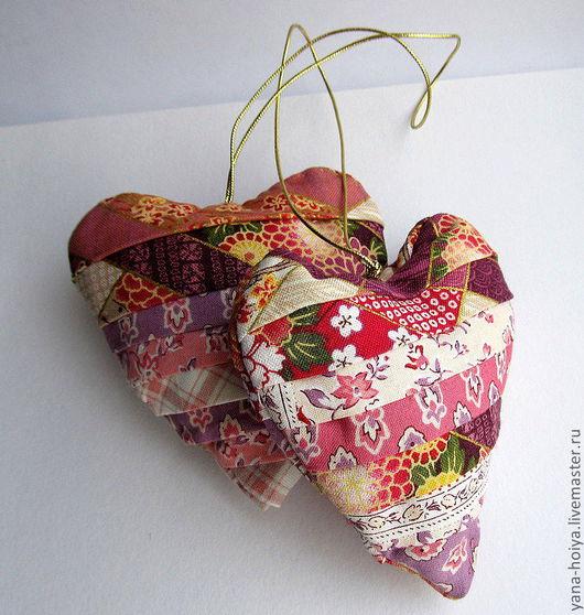 Новый год 2017 ручной работы. Ярмарка Мастеров - ручная работа. Купить Сердце из лоскутков. Handmade. Сиреневый, украшение интерьера