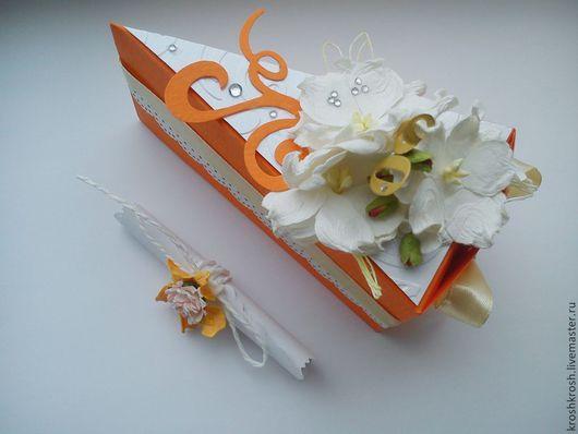 Можно выполнить в любом цвете и содержании, вложить записочку с пожеланиями и денежку. Так можно заказать не весь торт а кусочки, причем разного цвета :)