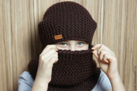 Вязаная шапка на зиму, шапка бини  вязанная, вязаная шапка крупной вязки, вязаная шапка спицами, вязаная шапка, шапка вязанная, шапка из толстой пряжи, теплая шапка, зимняя шапка спицами