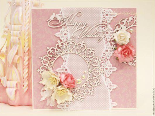Свадебные открытки ручной работы. Ярмарка Мастеров - ручная работа. Купить Свадебная открытка. Handmade. Розовый, свадебная открытка