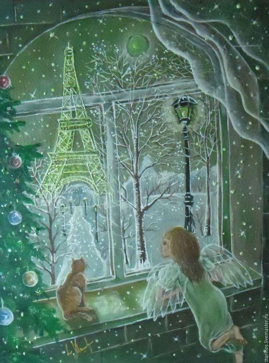 Фантазийные сюжеты ручной работы. Ярмарка Мастеров - ручная работа. Купить Окно в Париж. Картина на органзе. Handmade. Комбинированный, ангел