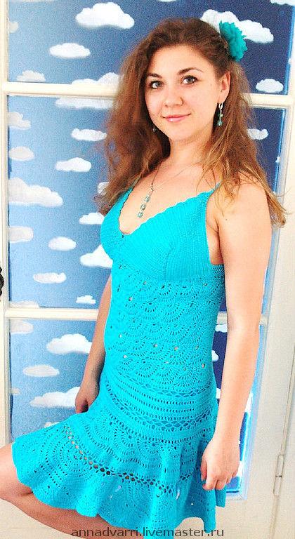 Платья ручной работы. Ярмарка Мастеров - ручная работа. Купить Платье бирюзовое. Handmade. Вязаное платье, пляжное платье