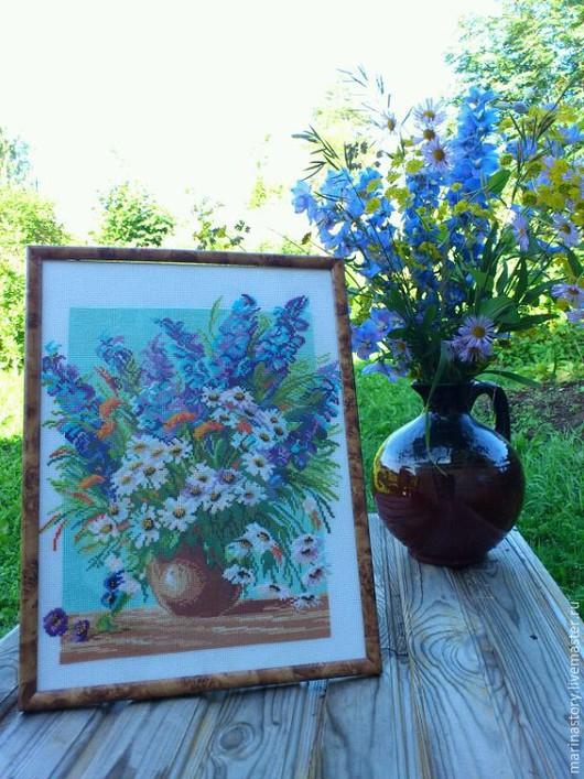 """Картины цветов ручной работы. Ярмарка Мастеров - ручная работа. Купить """"Июльский букет"""". Handmade. Разноцветный, цветы, лето, канва"""