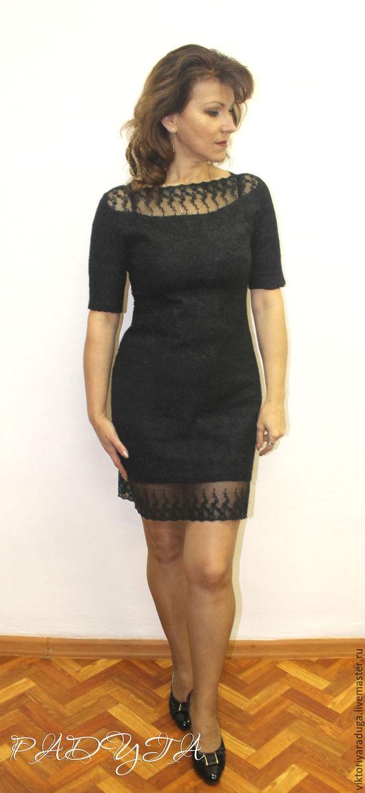 Платья ручной работы. Ярмарка Мастеров - ручная работа. Купить Маленькое черное платье - войлок. Handmade. Черный, платье валяное