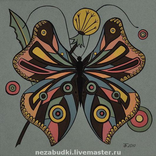 Картина «Бабочка. Композиция в круге». Авторские картины. «Forget-me-not» - живопись и реставрация. Ярмарка Мастеров.