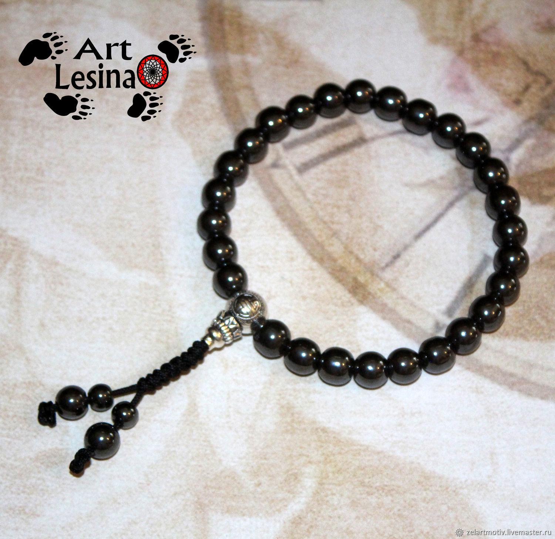 Buddhist beads of hematite (8 mm), the node Mahakala, 27 grains, Rosary, Moscow,  Фото №1