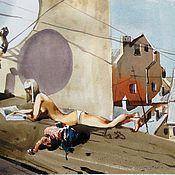 """Картины и панно ручной работы. Ярмарка Мастеров - ручная работа """"На крыше"""" акварель. Handmade."""