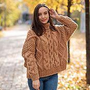 Одежда handmade. Livemaster - original item Jerseys: Handmade camel sweater with an oversize collar. Handmade.