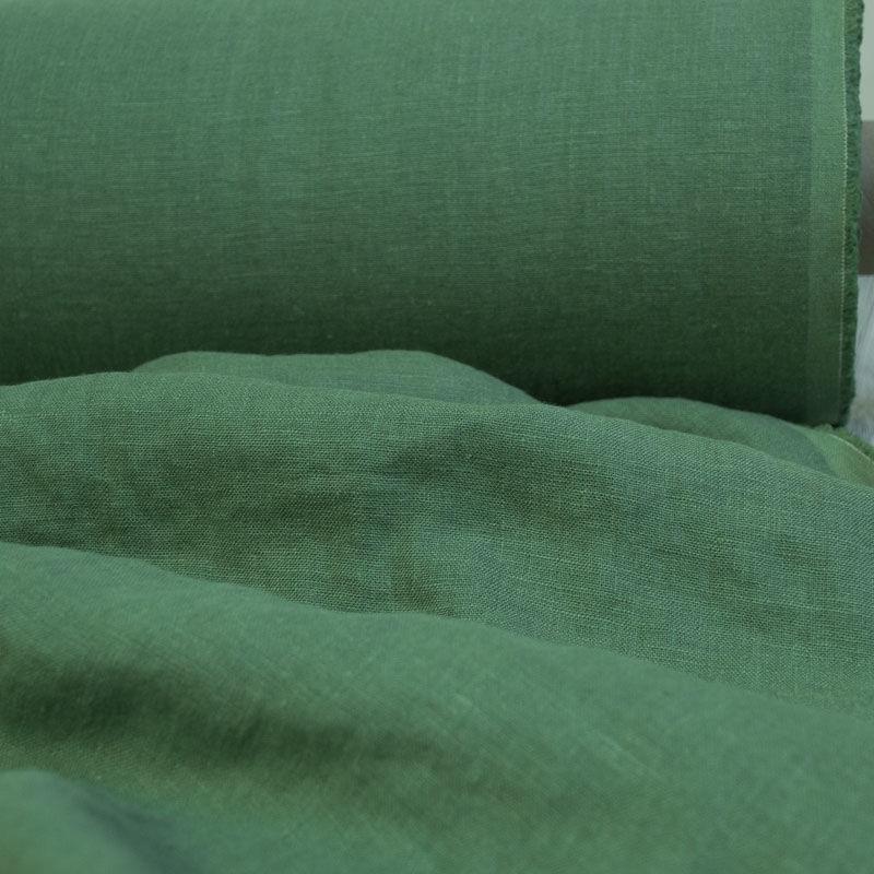 Лён умягченный защитно-зелёного цвета. Энзимная стирка.. Энзимная стир, Ткани, Минск,  Фото №1