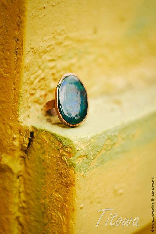 Кольца ручной работы. Ярмарка Мастеров - ручная работа. Купить кольцо Топаз. Handmade. Морская волна, гранулированное стекло