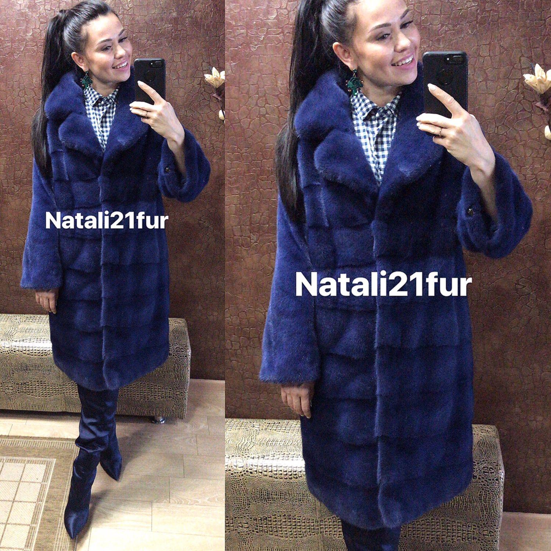 Шуба норковая Nafa синяяя, Шубы, Чебоксары,  Фото №1