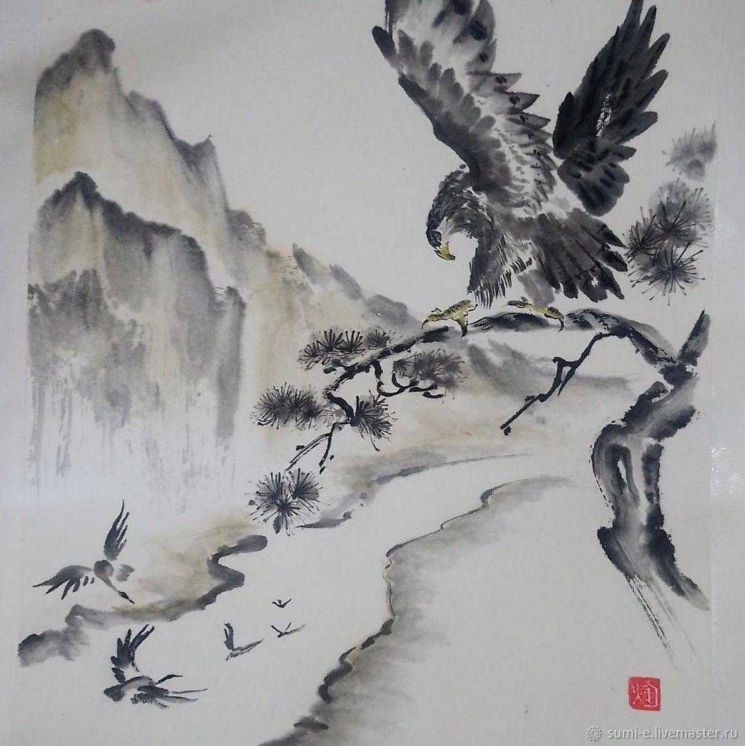 Орёл над долиной. Суми-э, Картины, Химки,  Фото №1