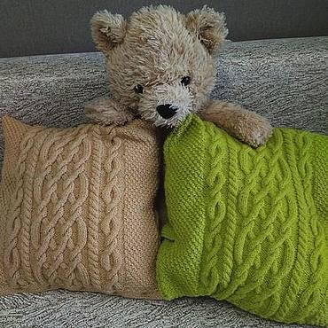 Textiles handmade. Livemaster - original item Decorative knitted cushion 40h40 cm Pillow case Cover cushion Spring. Handmade.