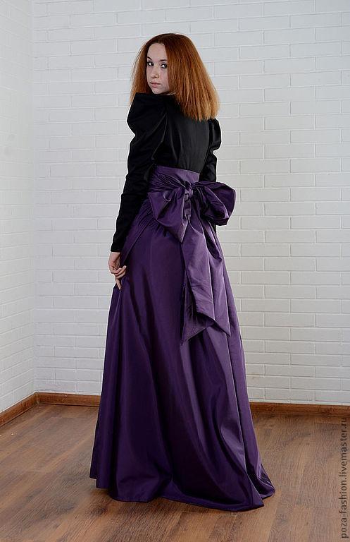 """Юбки ручной работы. Ярмарка Мастеров - ручная работа. Купить Юбка """"Бант"""". Handmade. Тёмно-фиолетовый, юбка в пол, бант"""