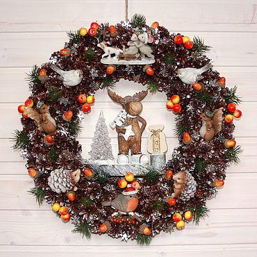 """Сувениры и подарки ручной работы. Ярмарка Мастеров - ручная работа Большой Рождественский венок """"Новый год в лесу"""". Handmade."""