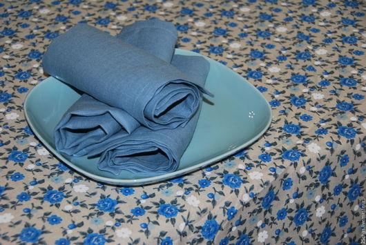 """Текстиль, ковры ручной работы. Ярмарка Мастеров - ручная работа. Купить Льняные салфетки 100% """"Гроза"""". Handmade. Голубой"""