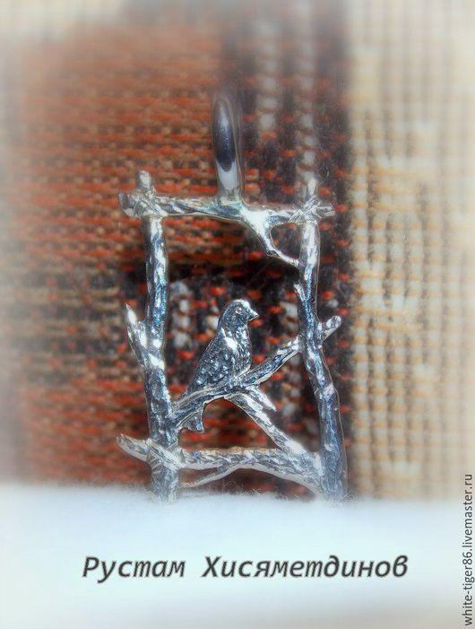 """Кулоны, подвески ручной работы. Ярмарка Мастеров - ручная работа. Купить Подвеска """"Жаворонок"""". Handmade. Серебряный, мельхиоровый кулон, жаворонок"""