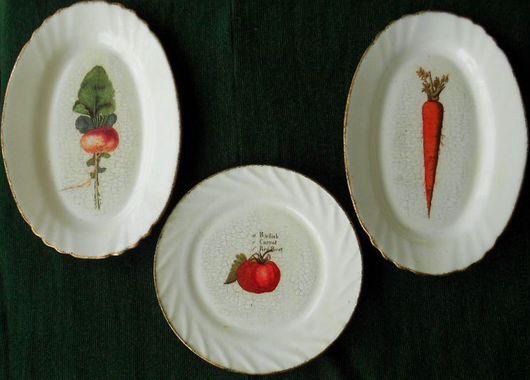 """Декоративная посуда ручной работы. Ярмарка Мастеров - ручная работа. Купить Набор тарелок -1 """" Овощное королевство"""". Handmade."""