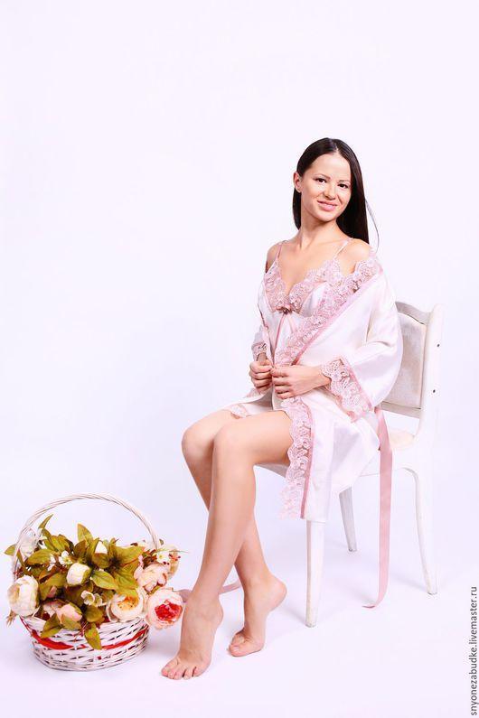 Белье ручной работы. Ярмарка Мастеров - ручная работа. Купить Ночная сорочка из шелка Розовый бутон. Handmade. Белый, розовый