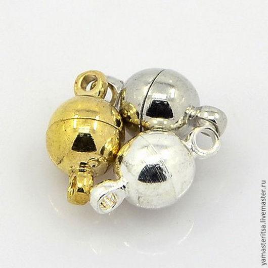 Для украшений ручной работы. Ярмарка Мастеров - ручная работа. Купить Замок магнитный шар 6 мм. Handmade. Серебряный