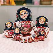 Русский стиль handmade. Livemaster - original item Matryoshka pot-bellied painted with different emotions, 17 cm 10 places. Handmade.