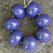Материалы для творчества ручной работы. Ярмарка Мастеров - ручная работа Комплект 7 полых бусин фиолетовые. Handmade.
