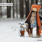 Куклы и игрушки ручной работы. Ярмарка Мастеров - ручная работа куколка Pyetra & мишка Shon. Handmade.