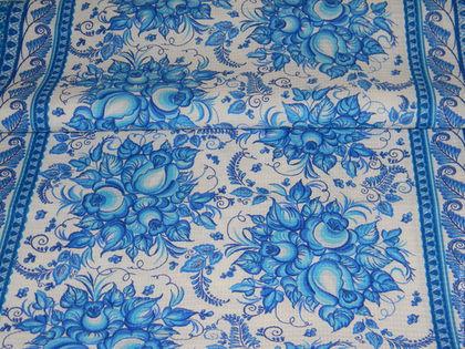 """Шитье ручной работы. Ярмарка Мастеров - ручная работа. Купить Ткань вафельная полотенечная """"Гжель"""". Handmade. Голубой, кухонный текстиль"""