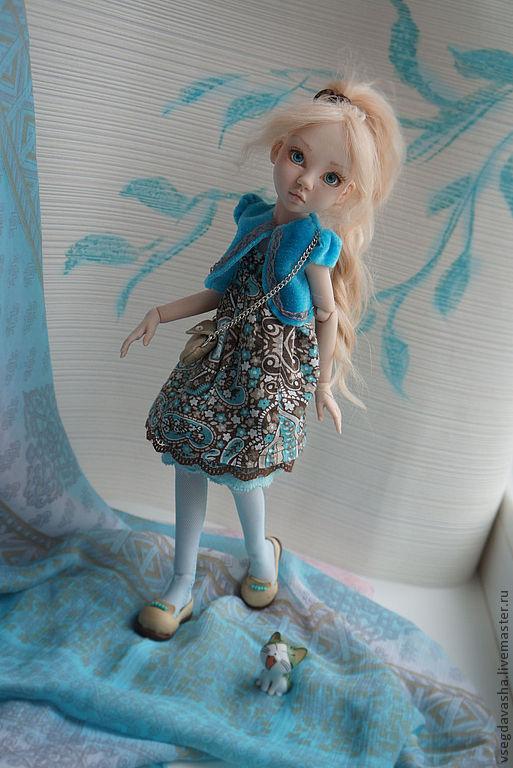 Коллекционные куклы ручной работы. Ярмарка Мастеров - ручная работа. Купить Дашенька. Handmade. Голубой, фарфоровая кукла, надглазурные краски