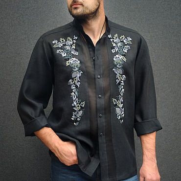 Clothing. Livemaster - original item Men`s linen shirt with embroidery