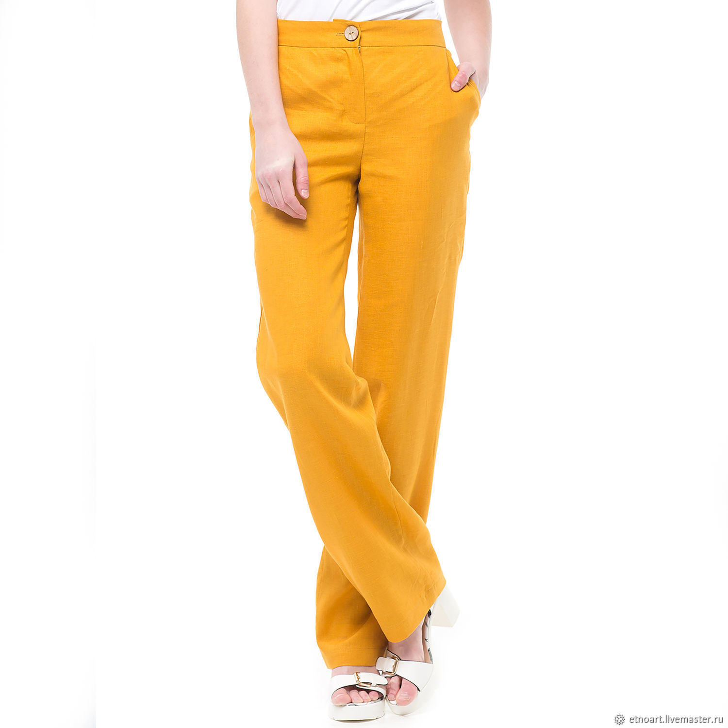 Trousers linen basic amber color, Pants, Tomsk,  Фото №1