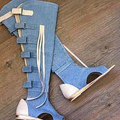 Обувь ручной работы. Ярмарка Мастеров - ручная работа Летняя обувь из джинса .натуральный котон отделка натуральная кожа. и. Handmade.