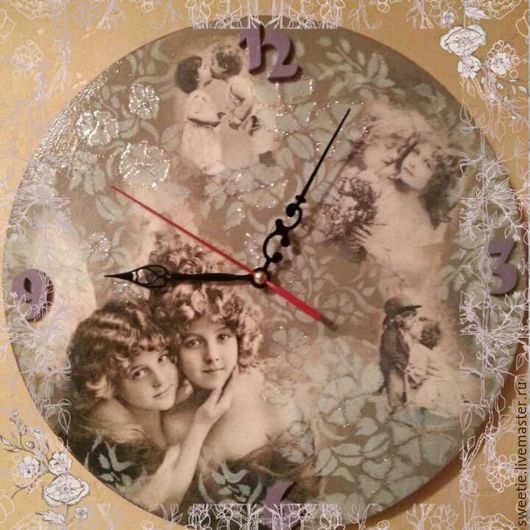 """Часы для дома ручной работы. Ярмарка Мастеров - ручная работа. Купить Часы настенные """"Милые"""". Handmade. Серый, ангелочки"""