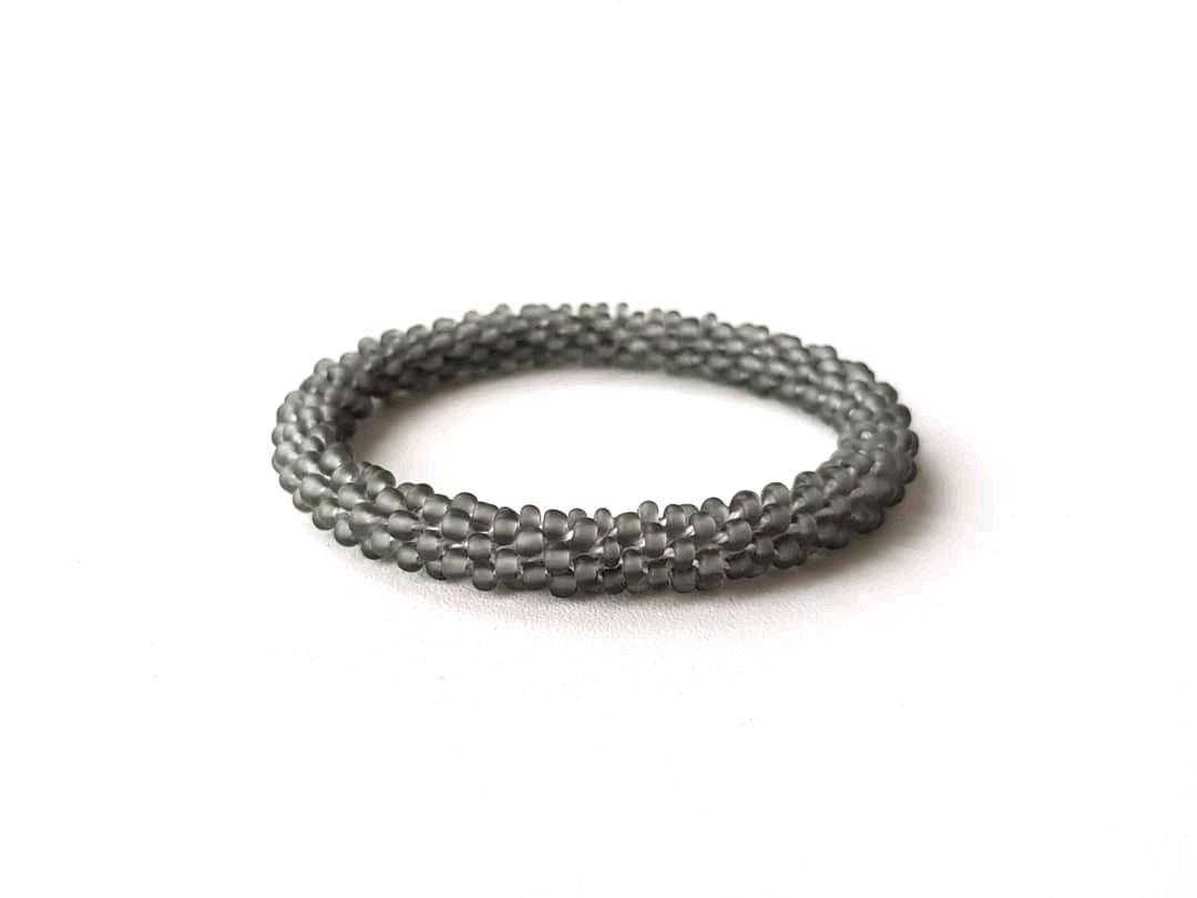 Bead bracelet without clasps, smoky-gray, Bead bracelet, Kireevsk,  Фото №1