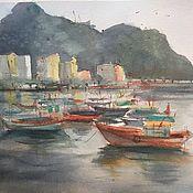 """Картины и панно ручной работы. Ярмарка Мастеров - ручная работа """"Тихие лодки"""", акварель. Handmade."""