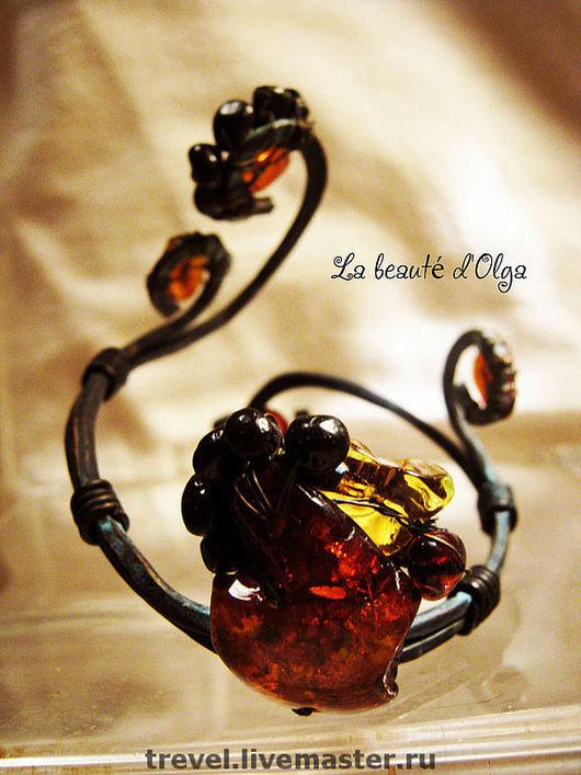 Браслеты ручной работы. Ярмарка Мастеров - ручная работа. Купить Браслет из Янтаря и Меди -Медичи. Handmade. Натуральный янтарь