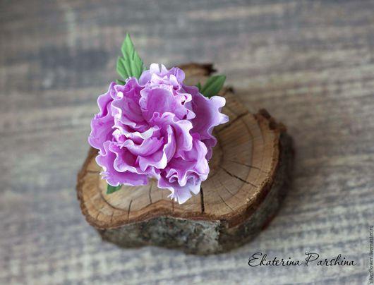 """Заколки ручной работы. Ярмарка Мастеров - ручная работа. Купить Зажим-брошь """"Пион"""". Handmade. Розовый, зажим для волос"""
