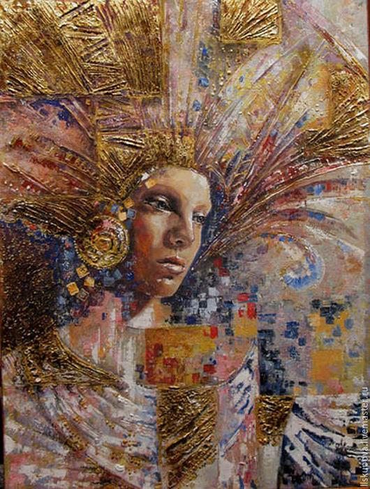 Люди, ручной работы. Ярмарка Мастеров - ручная работа. Купить Золотые нити сна. Handmade. Комбинированный, женщина, золото, картина