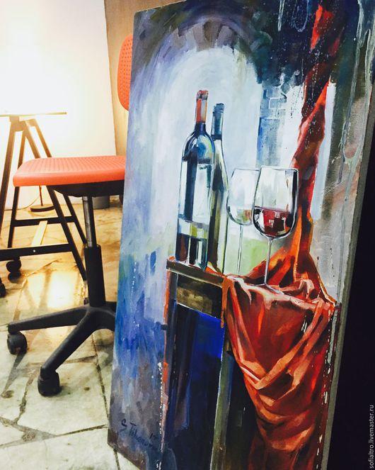 Натюрморт ручной работы. Ярмарка Мастеров - ручная работа. Купить Проба вина -1. Handmade. Бордовый, прозрачный, романтичный подарок
