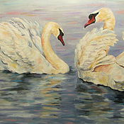 Картины и панно ручной работы. Ярмарка Мастеров - ручная работа Влюбленная пара лебедей. Handmade.