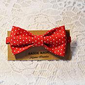 Аксессуары ручной работы. Ярмарка Мастеров - ручная работа галстук-бабочка  Красная в горошек. Handmade.