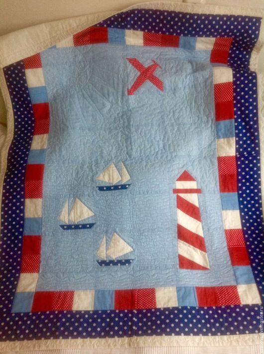 Пледы и одеяла ручной работы. Ярмарка Мастеров - ручная работа. Купить Лоскутное одеяло стеганое из хлопка 140х110 Морской бой. Handmade.