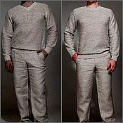 Мужская одежда handmade. Livemaster - original item Cardigan mens 100%linen yarn long sleeve. Handmade.