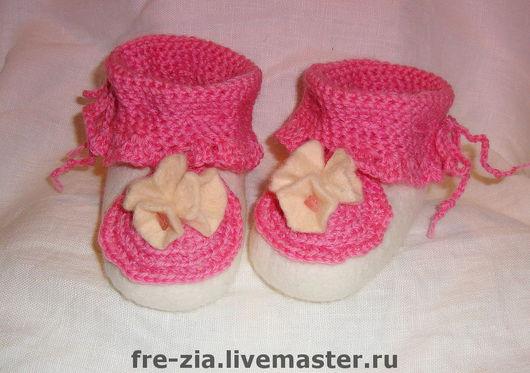 Обувь ручной работы. Ярмарка Мастеров - ручная работа. Купить Пинетки для малышки. Handmade. Меринос, шерсть