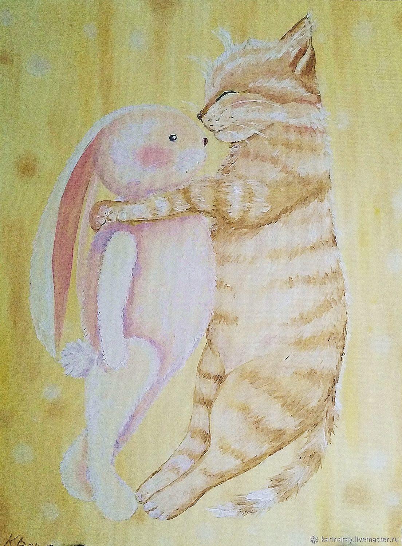 Открытка зайка и котик