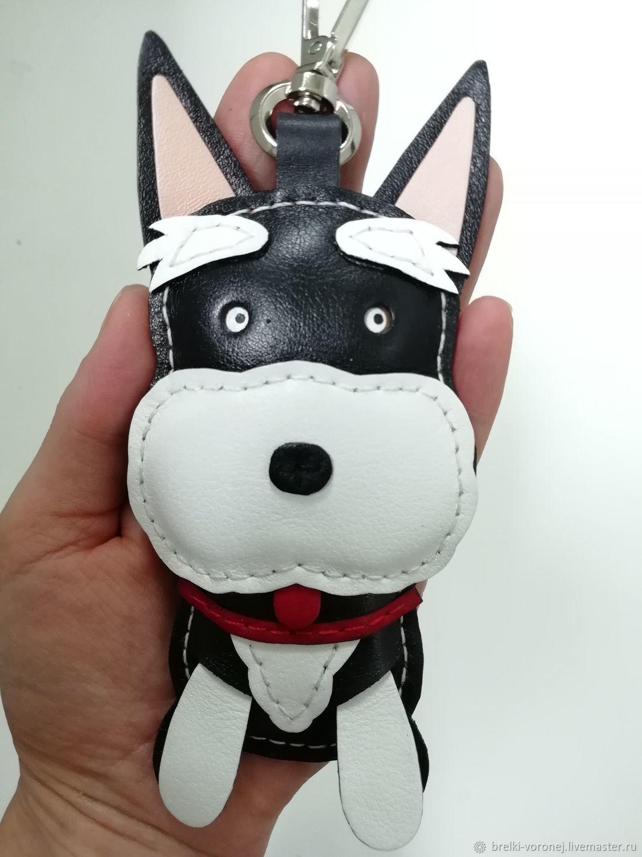 Брелок собака шнауцер кожа