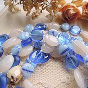 """Украшения ручной работы. Ярмарка Мастеров - ручная работа Бусы """"Берег моря"""" из чешского стекла, синие. Handmade."""