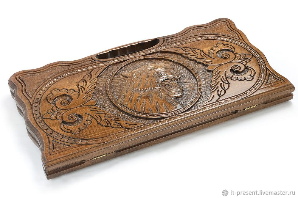Backgammon carved 'Fangs of the Tiger' large 60, Harutyunyan, Backgammon and checkers, St. Petersburg,  Фото №1