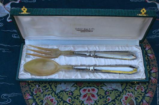 Винтажная посуда. Ярмарка Мастеров - ручная работа. Купить Винтажный сервировочный набор,серебряное покрытие и рог,Франция. Handmade.