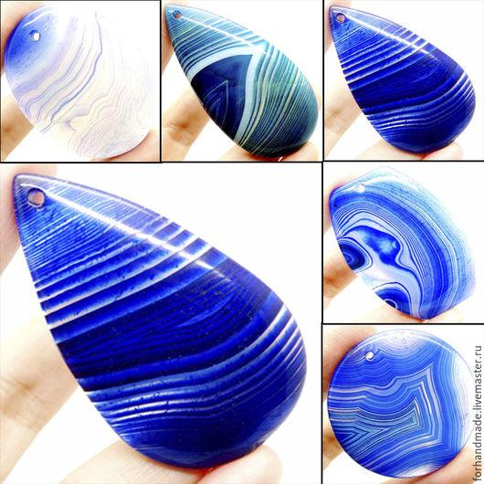 Для украшений ручной работы. Ярмарка Мастеров - ручная работа. Купить № 1503 кулон агат синий. Handmade. Синий